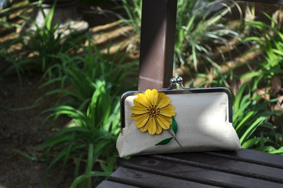 Clutch Silk Purse with Vintage Brooch - ivory, chocolate, yellow flower