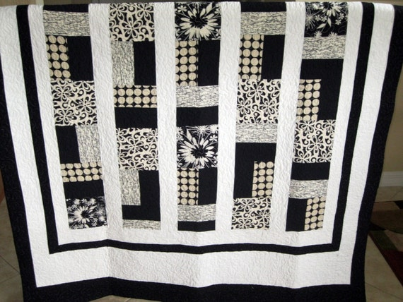 White Cream Black Modern Contemporary Lap Quilt