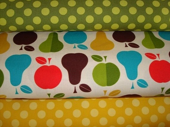 Moss and Mustard Ta dots and Apples and Pears Fabric-1 yard each- Total of  3 yard of fabric