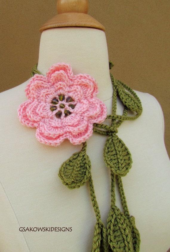 Pink Flower Lariat