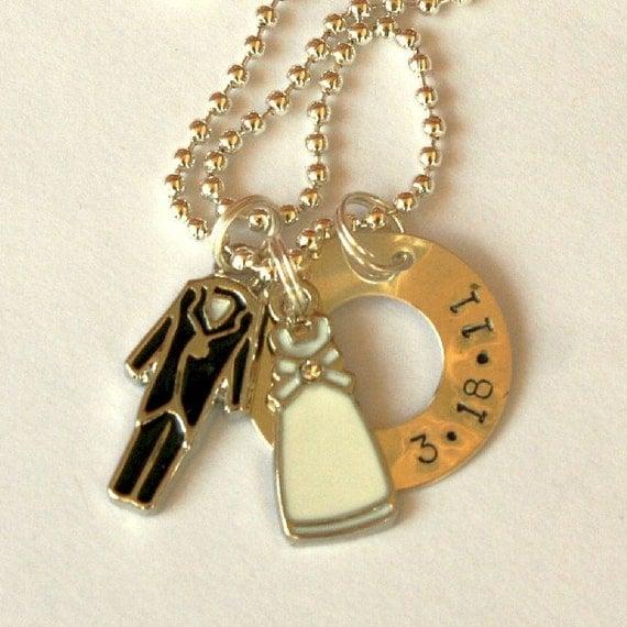 BRIDE and GROOM handstamped necklace