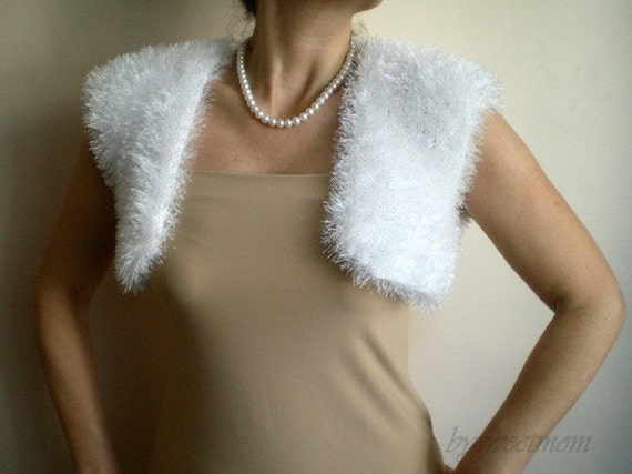 White Furry Sparkle Mini Vest, Bolero -   Bridal Bridesmaid Wedding Accessory , Hand Knit Chunky Puffy Shaggy shimmery  Evening party accessory, Shabby Chic