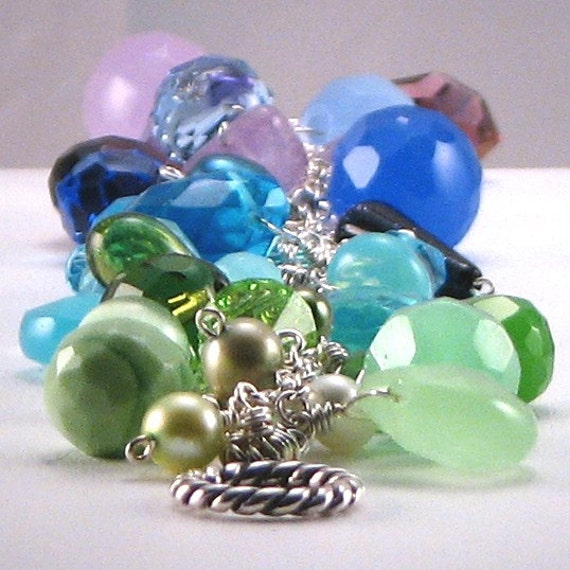 Razzle Dazzle, Swarovski Crystals, Freshwater Pearls, Sterling Silver Bracelet in Shades of Purple, Blue & Green