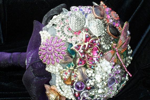 Beautiful Purple Brooch and Jeweled Bouquet