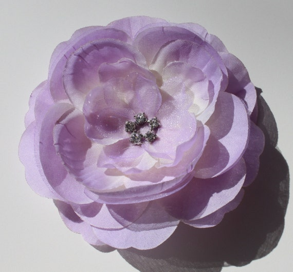 Light Purple Boutique Layered Flower Hair Clip With Rhinestones