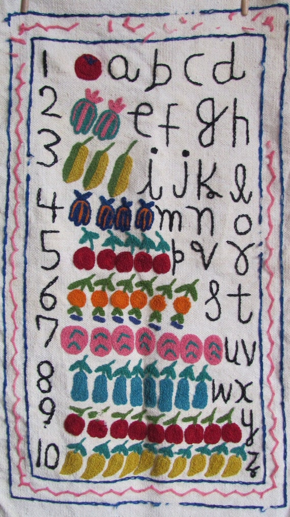 Letters And Numbers - Vintage Wall Hanging