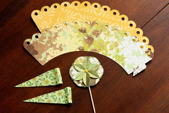 Spring Blossom Cupcake Wrappers, Cupcake Toppers and Straw Wrappers