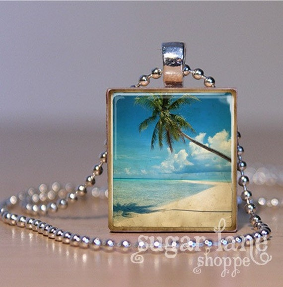 Tropical Beach Getaway Scrabble Tile Pendant Necklace with Chain