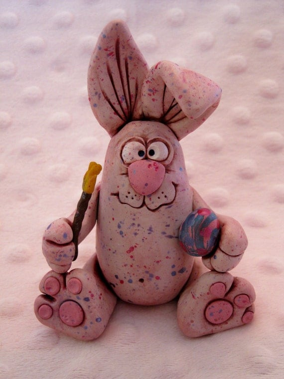Speckled Bunny Rabbit --Easter polymer clay critter