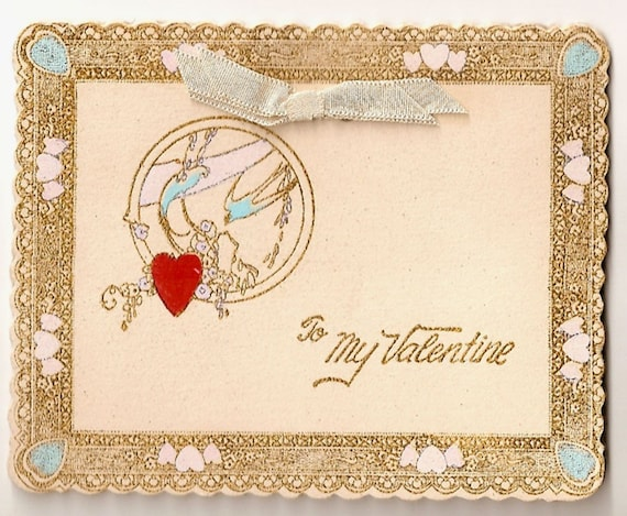 I Offer My Heart Valentine Card   C. 1930s