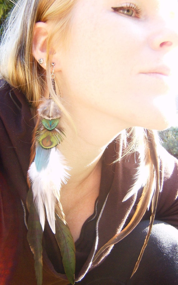 Little Bird Blue Long Feather Earrings