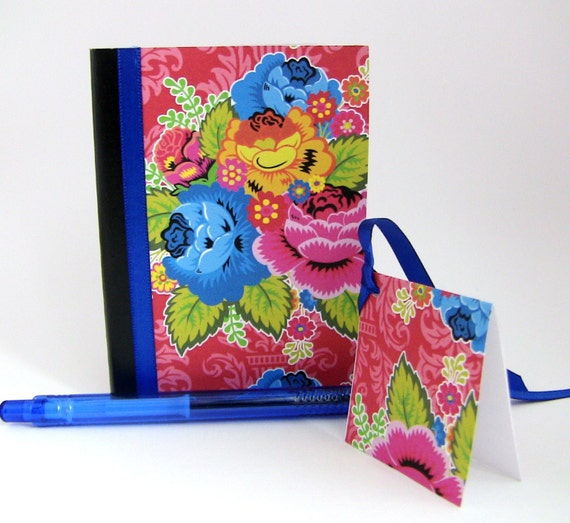 Blue and Pink Floral Small Altered Composition Notebook