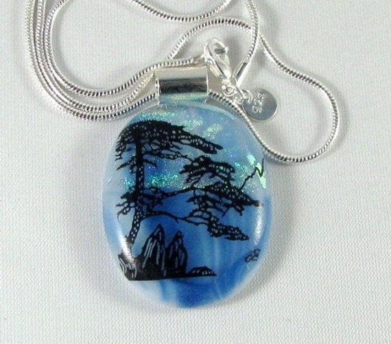 Handmade Magic Morning, Blue Dichroic Pendant, Sterling Silver Necklace