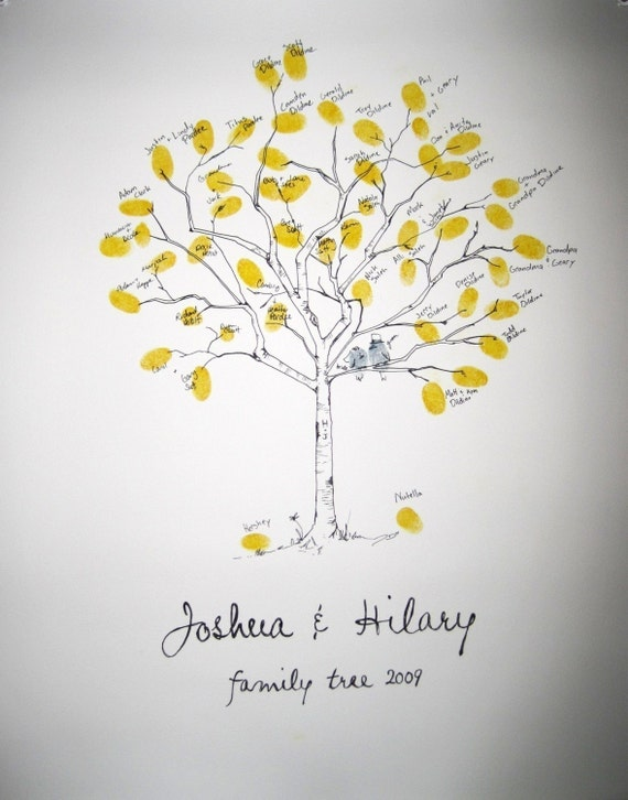 RESERVED (for kofficer88) Guest book fingerprint tree kit, hand drawn, SMALL (includes 2 ink pads)
