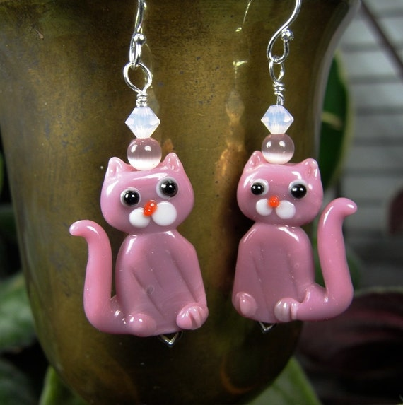 pink kitty earrings sterling silver