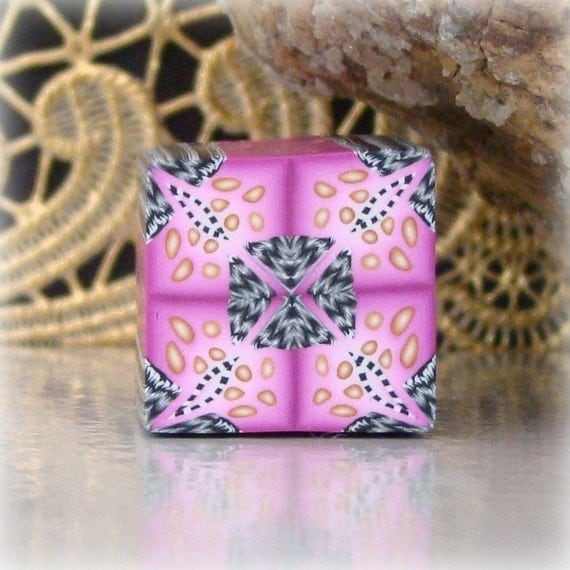 Polymer Clay Kaleidoscope Cane Pink Gold Black 1
