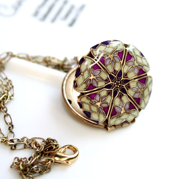 Filigree Locket w/shades of deep purple, med purple and shimmering buttercream