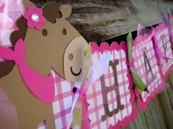 Cowgirl Pink Happy Birthday Banner