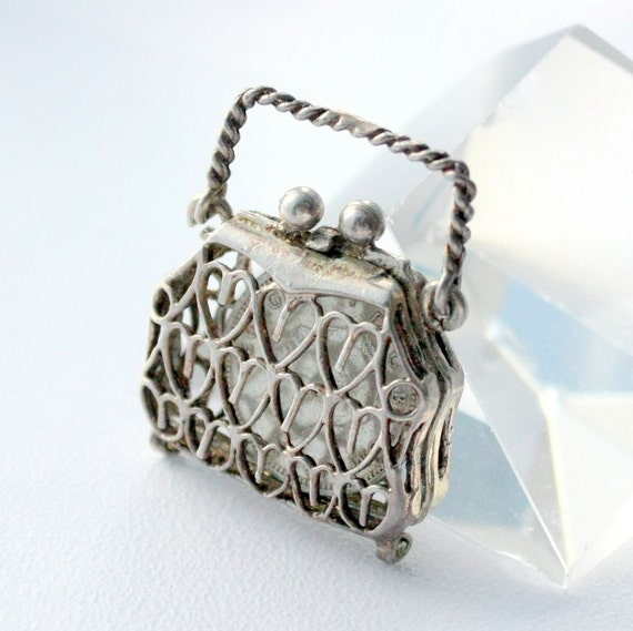 Vintage Rare Chim Sterling Silver Purse Charm Pendant