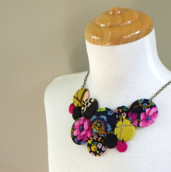 Extra Large Button Cluster Necklace in  Magenta and Mustard
