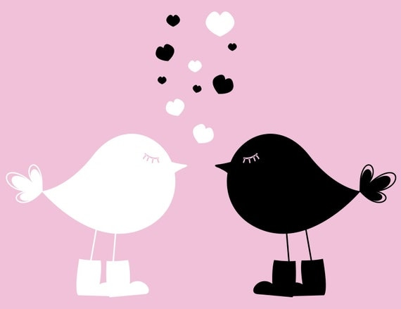 2 Birds In Love Dry Erase & Chalkboard Vinyl Wall Art Decals