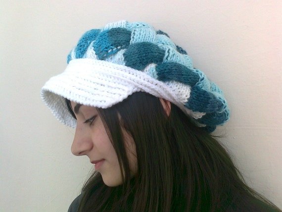 Shades of Turquoise Slouchy Newsboy Cap -Flower- Handmade-Knitted newsboy brimmed slouch hat