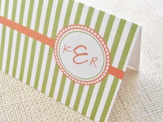 Stripes Monogram Cards - Set of 12