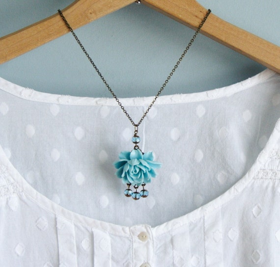 Isabelle Blue Rose Necklace