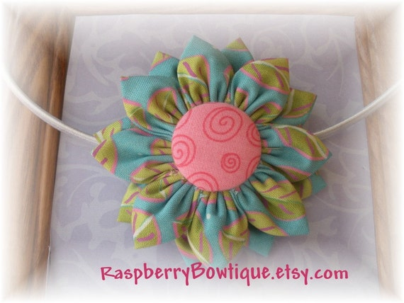 Handmade Fabric Flower U PICK Headband, or Hair Clip, or Brooch or Ponytail holder---ready to be shipped