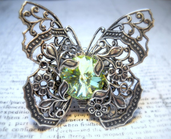 Kiss of Spring - Swarovski Crystal - Victorian Butterfly Filigree - Vintage Estate Rhinestone Cocktail Ring Adjustable