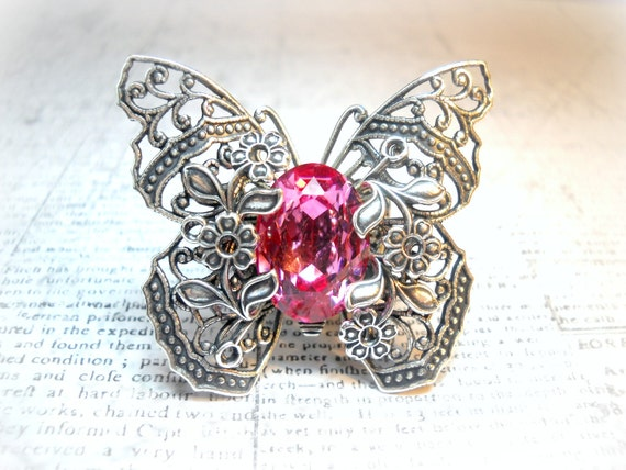 Butterfly Kisses Pink - Swarovski Crystal - Victorian Butterfly Filigree - Vintage Estate Rhinestone Cocktail Ring Adjustable