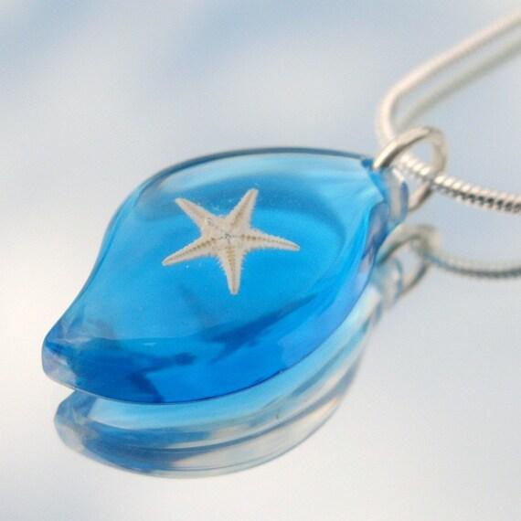 Подлинная Миниатюрные Морская звезда в Акриловые кулон с 18 дюймов серебро покрытием Змея Сеть бирюзовой