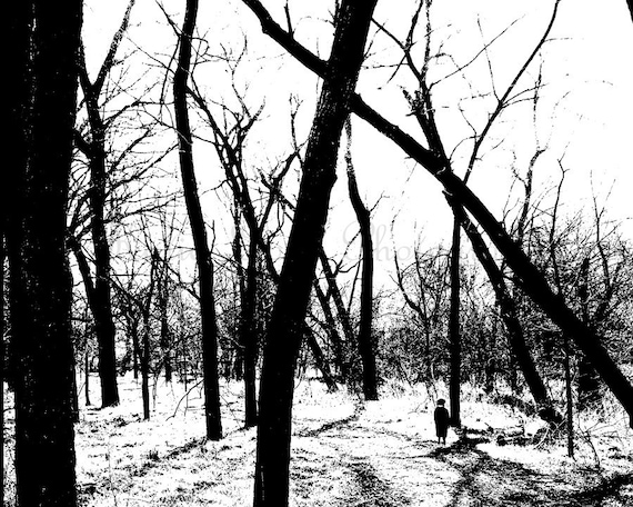 Walk Through the Woods - 11x14 Fine Art Spooky Photography Print - creepy halloween black and white high contrast home decor photo