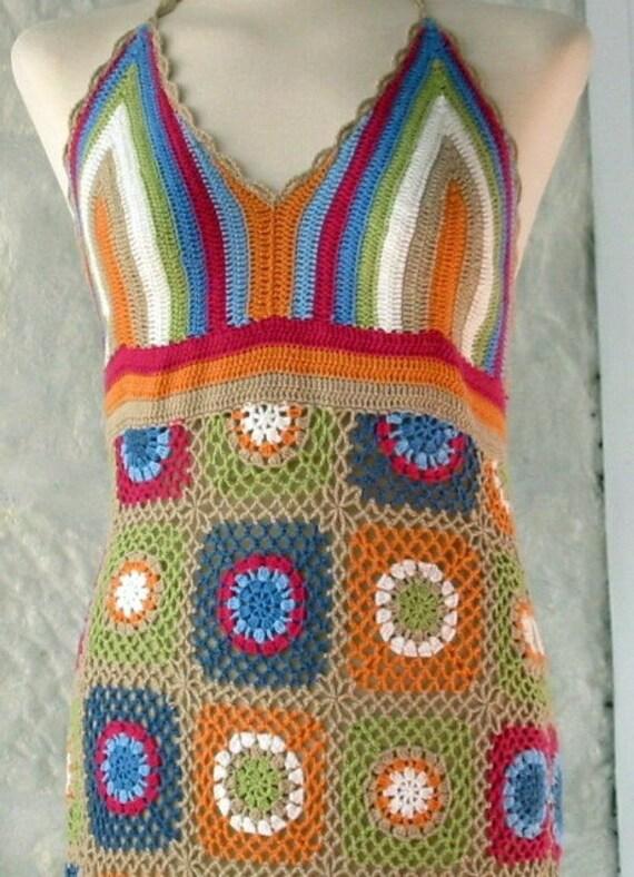 Granny Square Cotton Halterneck Dress