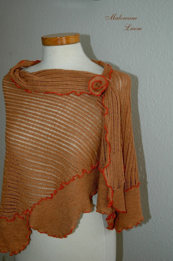 Linen shawl finished with ornamental stitch in orange