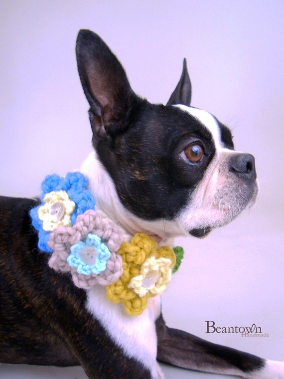 Triple Blossom Crocheted Pet Collar