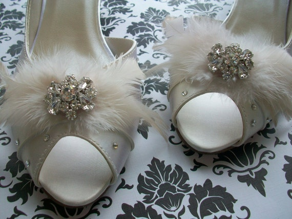 Satin Shoes Adorned With Feathers And Crystals... Choose From Over 100 Colors ...French Finery Meets Swarovski...Available Also In Wide Sizes