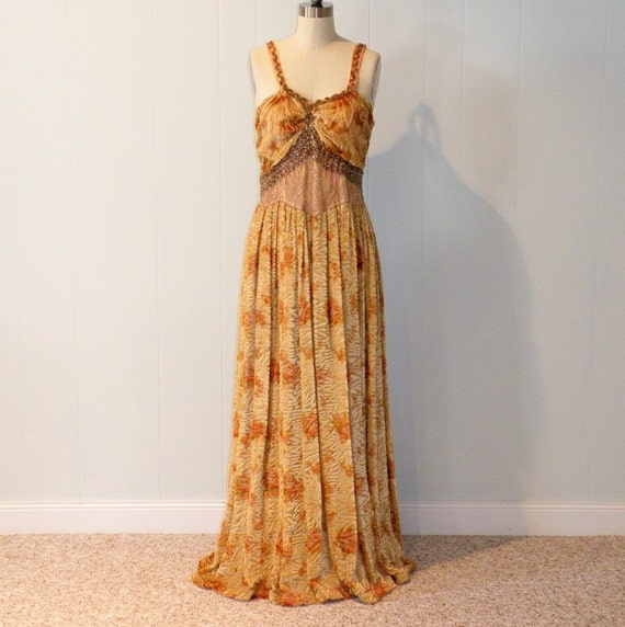 Vintage 30s Floral Silk Chiffon Cut Burnout Velvet Full Length Formal Cocktail Wedding Party Evening Gown Dress, Sequins Galore, Silver Metallic Midriff Flower Motif, WOW