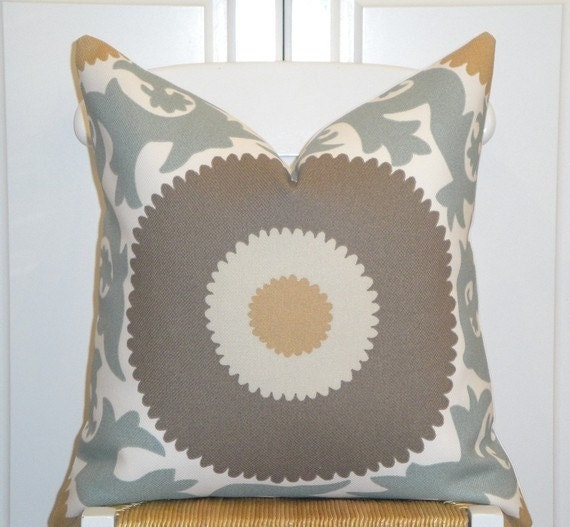 Decorative Pillow Cover 20 x 20 INCH - Designer Fabric - Indoor - Outdoor - Throw Pillow - Accent Pillow - Greyish Blue - Brown