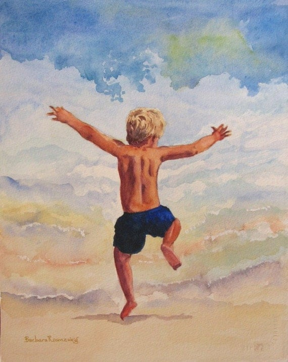 Boy into the Surf Art: Limited Ed Watercolor Print 11x14