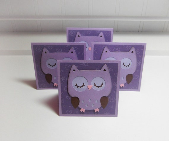 Cute Owl- Mini Cards ( Set of 4) by LittlePinkKangaroo