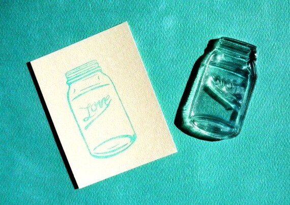 love mason ball jar clear polymer rubber stamp