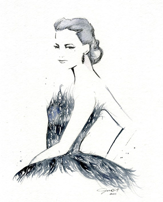 Watercolor Fashion Illustration: The Black Swan print