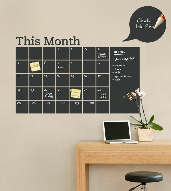 Chalkboard Wall Calendar with Memo - Vinyl Wall Decal