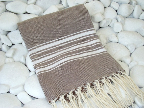 Best Quality Hand Woven Turkish Bath Towel or Sarong-Natural Cream Stripes on Soft Brown