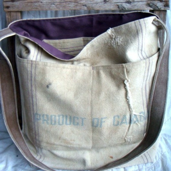 PRODUCT OF CANADA - reconstructed vintage grain sack messenger tote