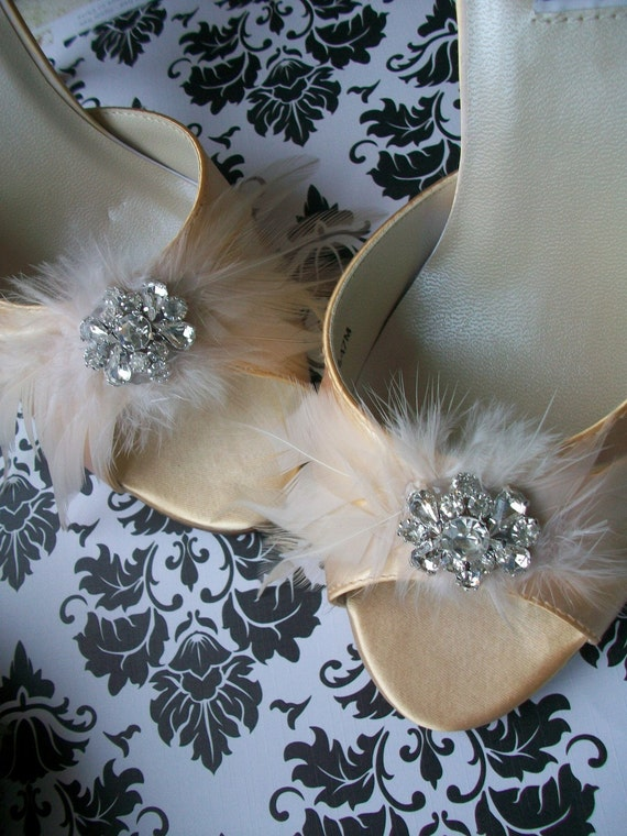 Lemonade Size 7 Ready To Ship...Satin Shoes Adorned With Feathers And Crystals...French Finery