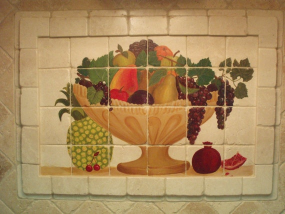 "Handpainted Veggie Tiles -  2"" x 2"" tumbled marble"