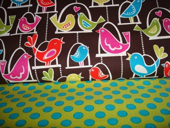 BirdSwings and Caribe Ta Dots Fabrics by Michael Miller - 1 yard each-Total 2 yards