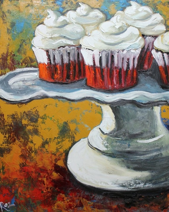 Cupcake 102 24x30 inch original oil painting by Roz